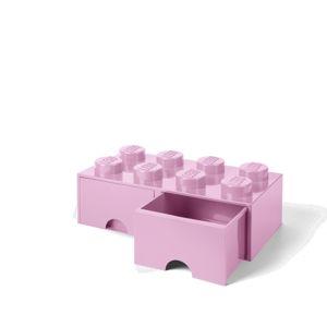 LEGO úložný box 8 s šuplíky - světle růžová