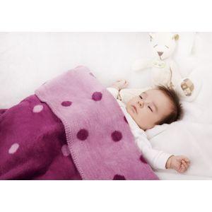ByBoom Dětská deka 75x100 cm - bavlněný fleece se vzorem, Bordó/Borůvková