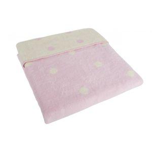 ByBoom Dětská deka 75x100 cm - bavlněný fleece se vzorem, Růžová/Ecru