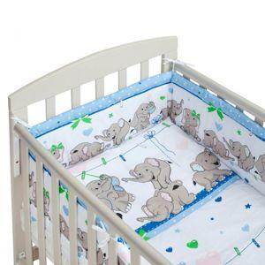 New Baby-3-dílné ložní povlečení New Baby 90/120 cm modré se sloníky