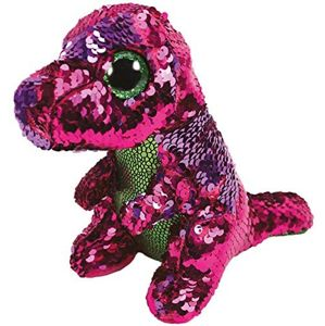 TY Meteor Beanie Boos Flippables STOMPY - pink-green dinosaur 15 cm